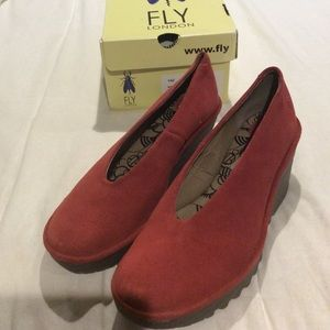 Fly London red suede wedge pump